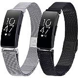 KOREDA Compatible with Fitbit Inspire/Inspire HR/Inspire 2 Bands Sets Women Men, 2 Pack Stainless Steel Mesh Loop Bracelet St