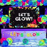 43 Pieces Glow Party Supplies Neon Party Decoration Set Include Glow Party Themed Backdrop Let's Glow Banner Circle Dot Garla