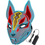 Unisex Fox Drift Mask LED Light up Mask for Halloween Cosplay Game Party Props Red