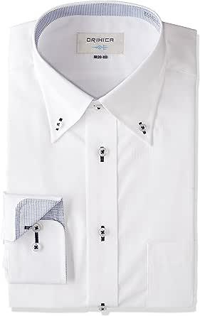 (オリヒカ) ORIHICA 白ボタンダウン織柄切替紺チェックシャツ STLB2828 白