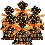 100 Pieces Plastic Trick Or Treat Candy Bags Halloween Goody Bags 6 x 9 Inch Halloween Wrapped Treat Bags Halloween Corn Cand
