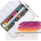 Watercolor Paint Set - 24 Vibrant Pans, 1 Blending Brush & Swatch Card - Professional Art Supplies - Portable Artist Travel T