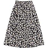 SheIn Women's Plus Daisy Floral Print Frill Trim High Waist Flared Midi Skirt