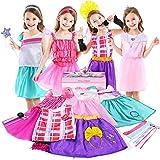 Jeowoqao Girls Dress up Trunk Princess Pretend Play Costumes Set 28 Pcs, Ballerina, Superstar, Princess, Fairy Costume, Kids