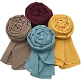 MANSHU Women Soft Chiffon Scarves Shawl Long Scarf Wrap Scarves. 4 Pcs for Mixed Color Series G