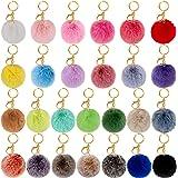BQTQ 26 Pieces Pom Pom Keychains Rabbit Faux Fur Pom Pom Balls Fluffy Pom Poms with Keychain Hooks for Women Girls Bag Access