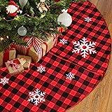 Christmas Tree Skirt Red and Black Buffalo Check Plaid Tree Skirt with Snowflake Design, 48inch Double Layers Xmas Tree Skirt