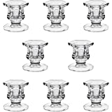 """YiSeyruo Candle Holder for Taper Candles: Centerpiece Clear Glass Candle Holders for 7/8"""" Taper Candle Decorative Candle Stan"""