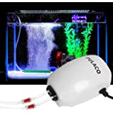 PULACO Ultra Quiet Aquarium Air Pump Dual Outlet, Fish Tank Aerator Pump with Accessories, for Up to 100 Gallon Tank