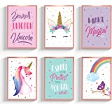 "Unicorn Bedroom Decor for Girls, Unicorn Poster, 6 Designs 8x10"", Girls Room Decor, Unicorn Wall Decor, Kids Room Decor for G"