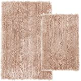 Comfy Soft 2 Piece Butter Chenille Bath Mat Rug Set, Shiny Noodle Bathroom Mats Rugs with Non Slip Backing, Super Water Absor