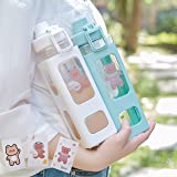Large Kawaii Water Bottle with Straw and Sticker Kawaii Large Water Bottle for Women (White,900ml/30oz)