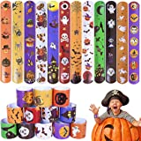 Max Fun 48PCS Halloween Slap Bracelets Party Favors Pack (12 Designs) with Spider Pumpkin Ghost Animal Print Craft for Hallow