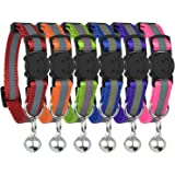 (3-Pack) - Reflective Cat Collar with Bell, Set of 3 OR 6, Solid & Safe, Nylon, Mixed Colours, Pet Collar, Breakaway Cat Coll