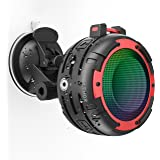 Portable Bluetooth Speaker,CREATMOR IPX8 Waterproof Bluetooth Wireless Speaker with 4 LED Light Modes, Built in Mic, Super Ba