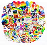 Water Bottle Stickers Gay Pride Stickers 60 pcs Bright Technicolor Rainbow Stickers Car Bike Scooter Suitcase Phone Refrigera
