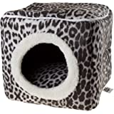 Cat Pet Bed Cave- Indoor Enclosed Covered Cavern/House for Cats Kittens and Small Pets with Removable Cushion Pad by PETMAKER