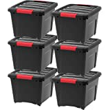 IRIS USA Stack & Pull Storage Box, Black, 19 Quart