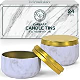 Hearts & Crafts Candle Tins with Lids - 8-oz. Carrara Marble Tin Cans, 24-Pack - for Candles, Arts & Crafts, Storage, Gifts,