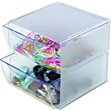 "Deflecto Stackable Cube Organizer, Desk and Craft Organizer, 2 Drawers, Clear, Removable Drawers and Dividers, 6"" W x 6"" H x"