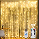 HOME LIGHTING Window Curtain String Lights, 300 LED 8 Lighting Modes Fairy Copper Light with Remote, USB Powered for Christma