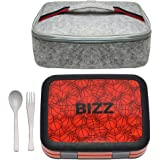 Bizz Bento Box Lunchbox & Bag Set with Utensils, Removable Microwaveable Dishwasher Safe Tray, Kids Adults, Leakproof 4-Compa