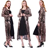 VJJ AIDEAR Women's Sequin Cardigan Summer Cover Up Dress Glitter Sparkle Open Front Coat Dresses Duster for Evening Prom S
