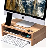 WELL WENG Desk Monitor Riser Stand with Storage Organizer 2 Shelves for PC, Printer, Laptop Bamboo (MR3)