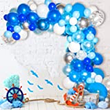 Bloonsy Blue Balloon Garland Kit | Balloon Arch Kit with Blue and White Balloons | 120 Pack | Silver Confetti, Navy Blue, Roy