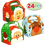 24 PCs 3D Christmas House Cardboard Treat Boxes for Holiday Treats, Pastries, Cupcakes, Cookies Goodie, Brownies, Donuts Gift