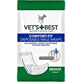 Vet'S Best Comfort Fit Disposable Male Dog Diapers | Absorbent Male Wraps with Leak Proof Fit | Medium, 30Count