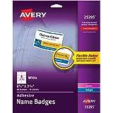 "Avery Premium Personalized Name Tags, Print or Write, 2-1/3"" x 3-3/8"", 80 Adhesive Tags,(25395), White"