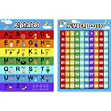 Bememo Alphabet Letters Chart and Numbers 1-100 Chart, 2 Pieces Educational Posters Preschool Learning Posters for Toddlers a