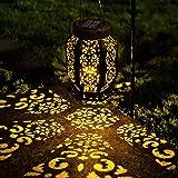 LeiDrail Solar Lantern Outdoor Garden Hanging Lanterns LED Light Metal Decorative Warm White Waterproof Landscape Lighting fo