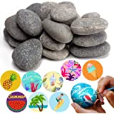 BigOtters Painting Rocks, 20 Rocks for Painting Kindness Rocks Range from About 2 to 3 inches, About 3.7 pounds of Rocks(Dark