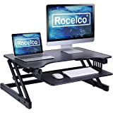 """Rocelco ADR Basic Height Adjustable Sit/Stand Desk Computer Riser, Dual Monitor Capable, 50lb Capacity, 32"""" With Retractable"""