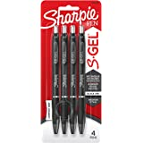 Sharpie S-Gel, Gel Pens, Medium Point (0.7mm), Black Ink Gel Pen, 4 Count