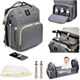 Leogreen Diaper Bag Backpack, 3 in 1 Multi-Functional Waterproof Travel Nappy Bags with USB Charging Port, Large Capacity Bab