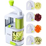 Spiralizer Vegetable Slicer (New 4-in-1 Rotating Blades) Heavy Duty Veggie Spiralizer with Strong Suction Cup Zucchini Spiral