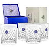 Premium Scotch Whiskey Glasses Hand Cut Large 12 oz Set of 4 Lead Free Crystal Old Fashioned Glass Gift Box for Scotch Whiske