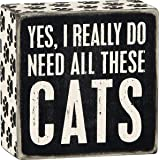 """Primitives by Kathy Word Box Sign, 4"""" Square, Yes, Cats"""