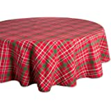 "DII Campfire, Tartan Holly Plaid, 70"" Round Tablecloth"