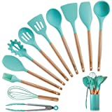 Silicone Kitchen Cooking Utensils Set with Wooden Bamboo Handles (11 Piece)   Bonus Cup   Durable Cookware Tools   BPA-Free,