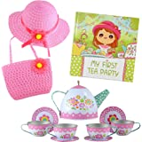 Tea Party Gift Set- Includes Book, Tea Set, Hat, and Purse. Perfect Pretend Play for Toddlers and Little Girls Age 2 3 4 5 6