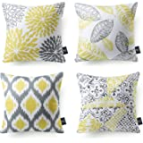 "PHANTOSCOPE Set of 4 Living Series Yellow Grey Decorative Throw Pillow Case Cushion Cover 18"" x 18"" 45cm x 45cm"