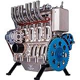 4気筒インラインガソリンエンジンモデル構築キット、フルメタル組み立てミニエンジンモデル教育金型玩具キット (4気筒)