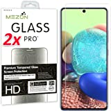 [2 Pack] MEZON Crystal Clear Premium 9H HD Tempered Glass Screen Protector for Samsung Galaxy A71 – Case Friendly, Shock Abso
