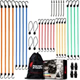ROCKET STRAPS   24PC Extreme Heavy Duty Bungee Cord Set with Steel Plastic Coated Reinforced S Hooks   Tie Downs   Ball Bunge