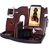 BarvA Wood Docking Station Tray Cell Phone Smartwatch Holder Men Charging Accessory Nightstand Father Mobile Base Gadget Orga