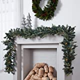 NOMA Pre-lit 9-Ft LED Mini Pinecone Christmas Garland with Battery Operated Lights   50 Warm White Bulbs   425 Pine Tips